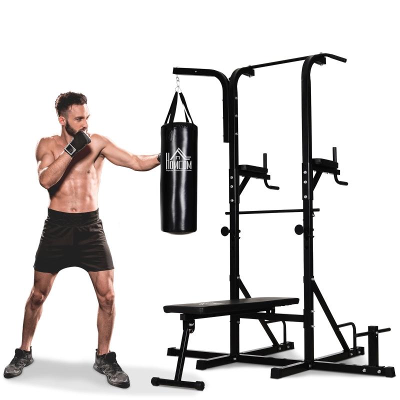 HOMCOM Estación de Musculación Dip con Banco de Pesas Reclinable Saco de Boxeo y Barra de Dominadas Torre de Entrenamiento Fitness 180x183x219 cm Negro