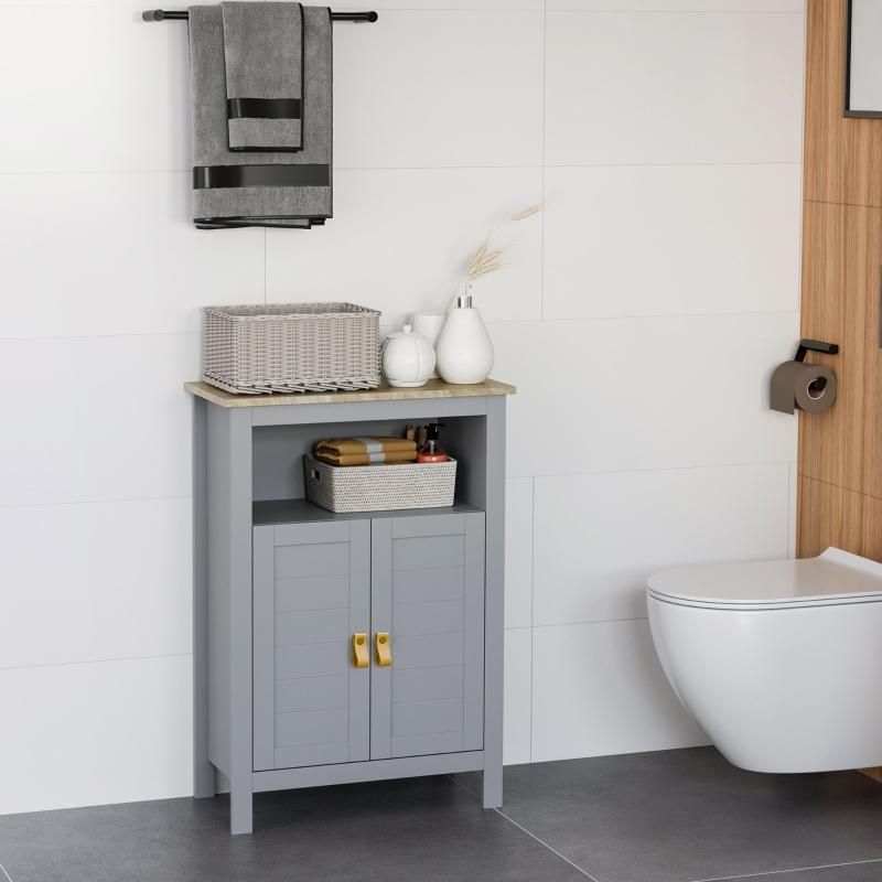 kleankin Armario de Baño para Almacenamiento Armario de Suelo con 2 Puertas y Estantes Interiores Ajustables para Cocina Dormitorio Salón 59x30x85 cm Gris
