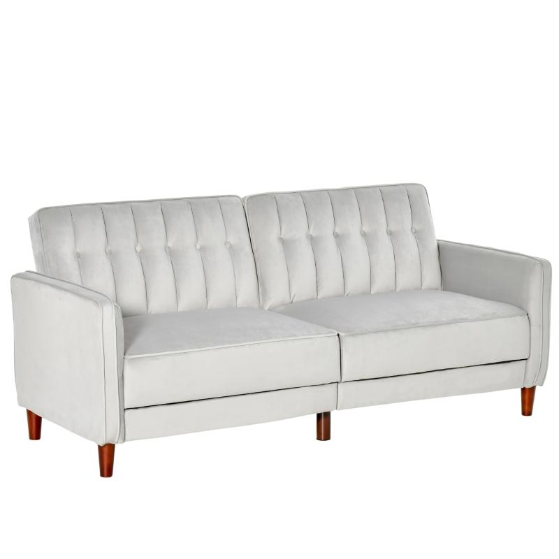 HOMCOM Sofá de 2 Plazas Convertible en Cama Tapizado Aterciopelado con Respaldo Ajustable y Patas de Madera para Salón Oficina 189x81x83,5 cm Gris Claro