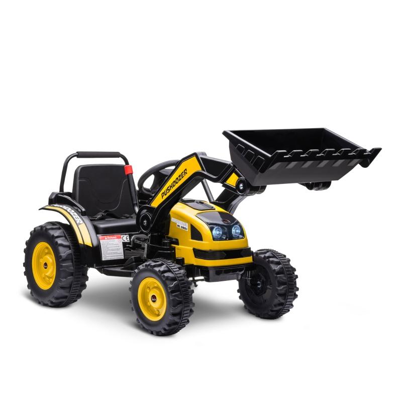 HOMCOM Tractor Excavadora Eléctrico para Niños de +3 Años Vehículo Infantil con Batería 6V Pala Música y Luces Velocidad de 2 Niveles 132x62x65 cm Negro y Amarillo