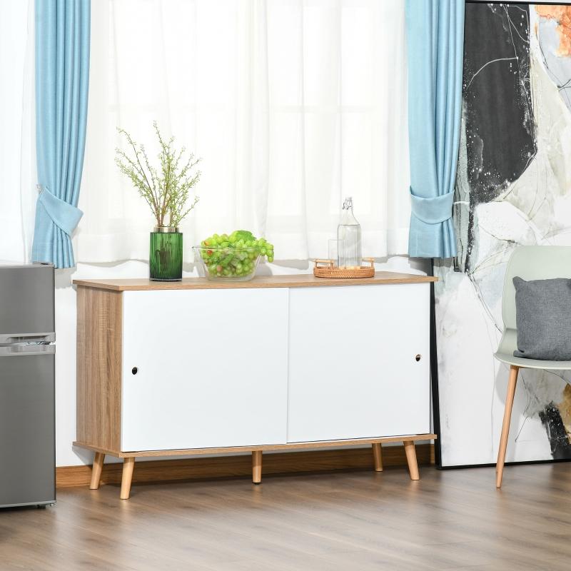 HOMCOM Mueble Aparador tipo Buffet para Comedor Cocina con 2 Puertas Correderas Estantes Interiores Ajustables y Patas de Madera 130x40x74,5 cm Natural y Blanco