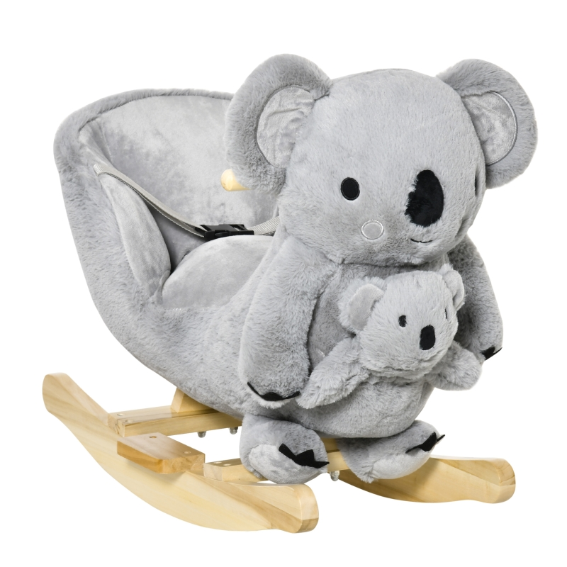 HOMCOM Caballito Balancín Infantil en Forma de Koala con Títere para Bebés 18-36 Meses con Sonido Cinturón de Seguridad y Reposapiés 60x33x50 cm Gris