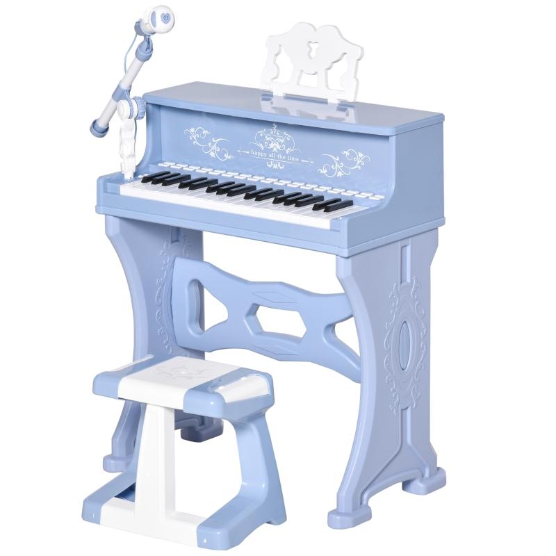 HOMCOM Piano Electrónico Infantil 37 Teclas con Micrófono Taburete 22 Canciones Azul