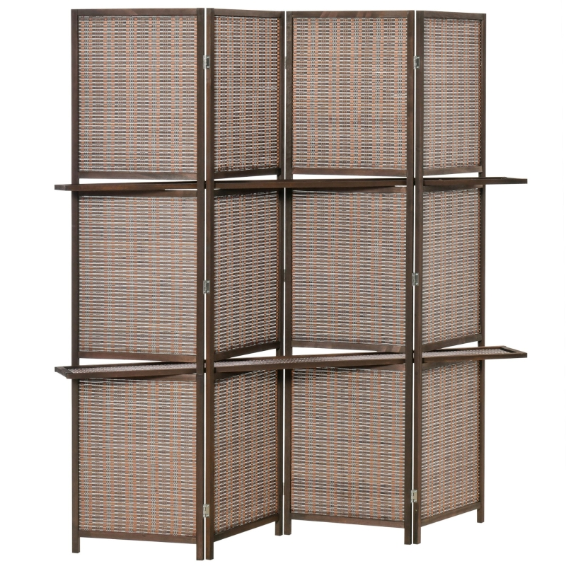 HOMCOM Biombo Plegable de Bambú de 4 Paneles con 2 Estantes Extraíbles 180x180cm Marrón