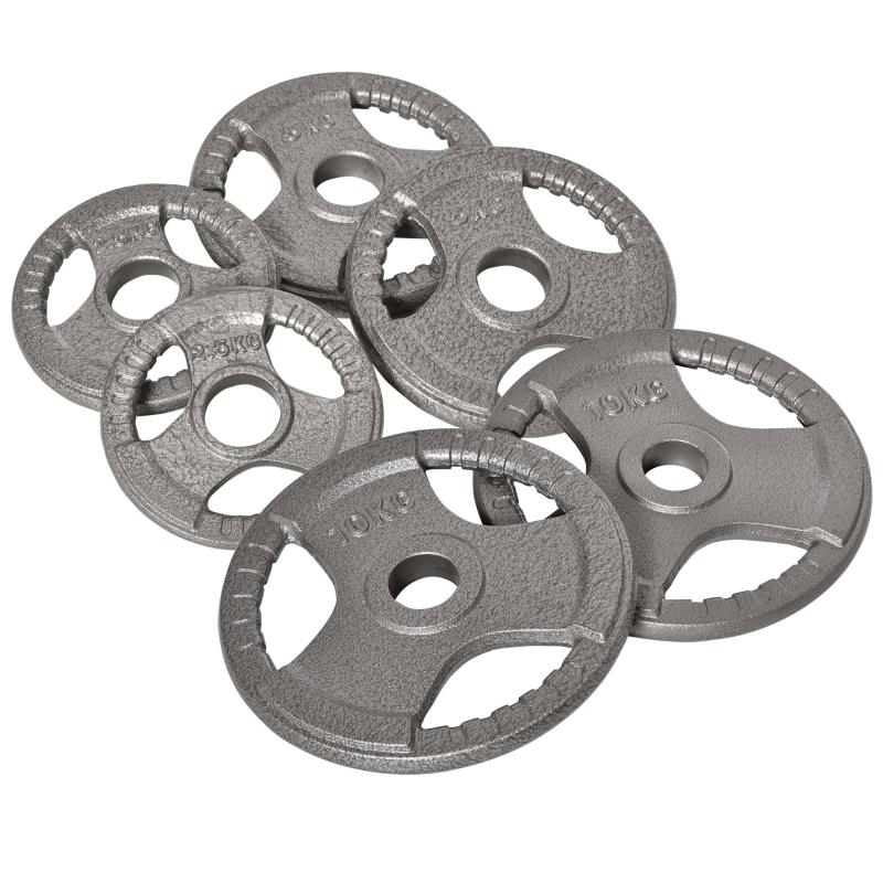 HOMCOM Juego de 6 Discos de Pesas de Acero Peso Total 35 kg con Orificio de Ø54mm Plata