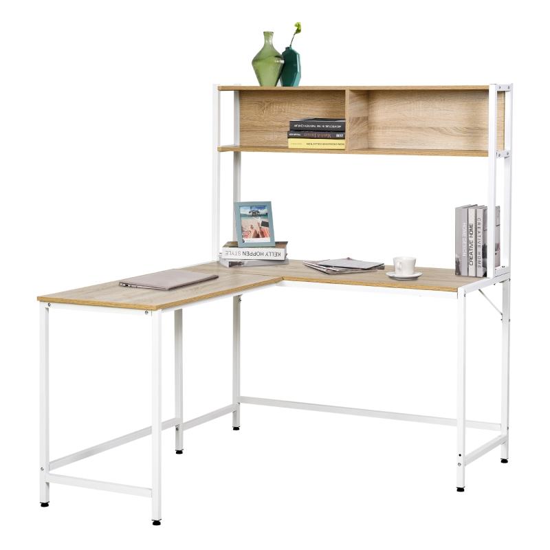 HOMCOM Escritorio en Forma de L Multifuncional Mesa de Ordenador para Oficina o Estudio con Estantes Altos Espacio Amplio 140x125x149cm Madera