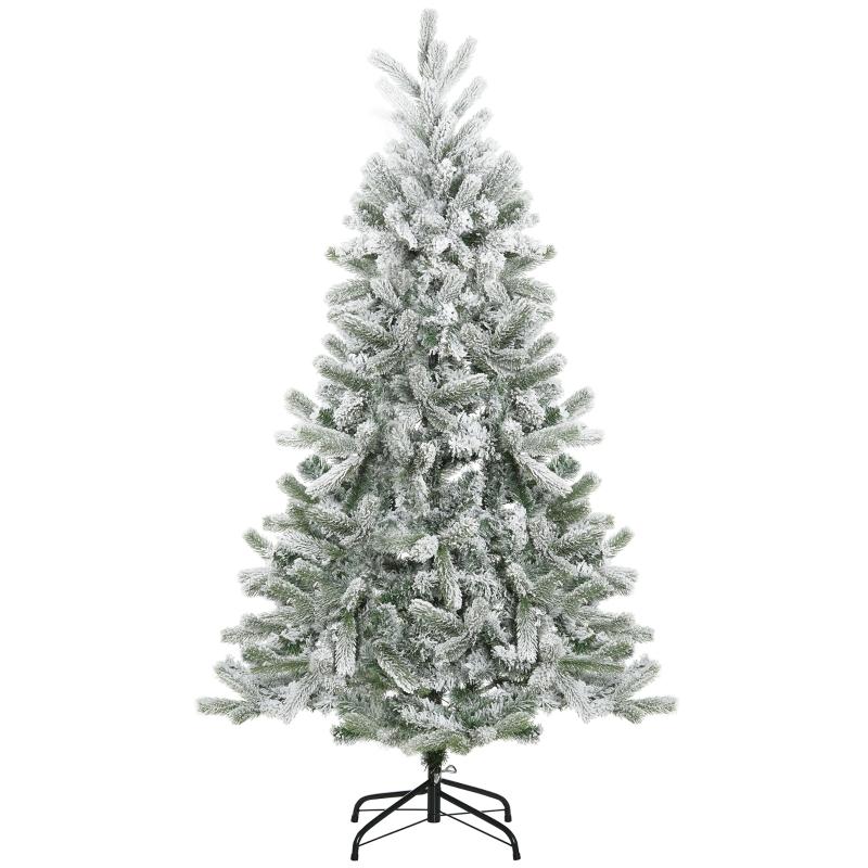 HOMCOM Árbol de Navidad Nevado Artificial 150 cm con 521 Ramas PVC y PE Base Plegable y Soporte de Metal Decoración Navideña para Interiores Ø90x150 cm Verde y Blanco