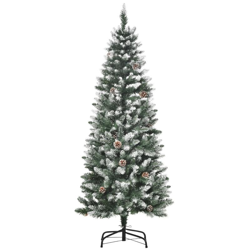 HOMCOM Árbol de Navidad Artificial 150 cm para Interior con 464 Puntas PVC y 28 Piñas