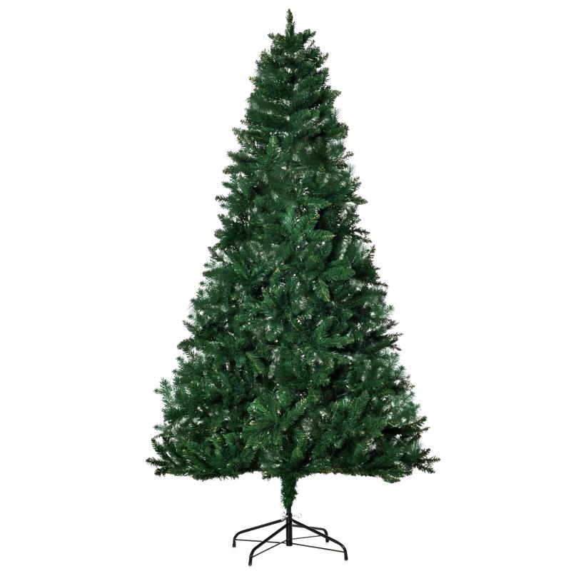 HOMCOM Árbol de Navidad Artificial 210 cm Ignífugo con 1064 Puntas PVC y Metal Verde