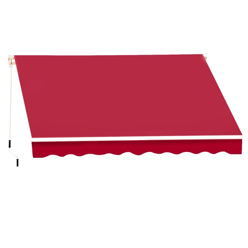 Outsunny Toldo para Patio Balcón Terraza y Jardín de 400x250cm con Brazo Articulado de Aluminio y tela de Poliéster de 280g/m² Color Rojo