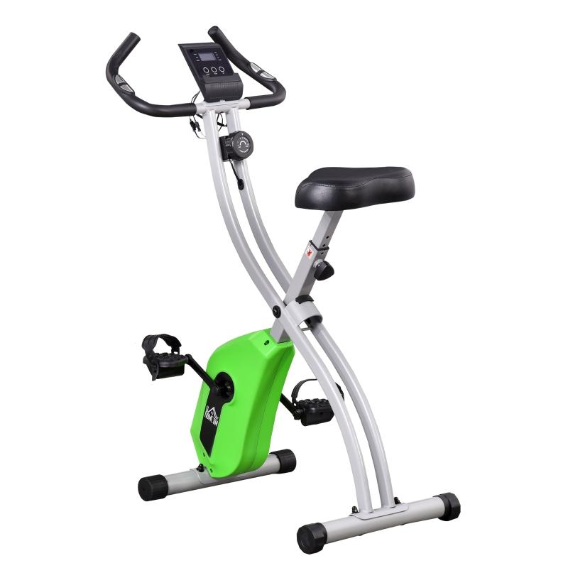 HOMCOM Bicicleta Estática Plegable con Resistencia Ajustable y Volante de 1,5kg Verde