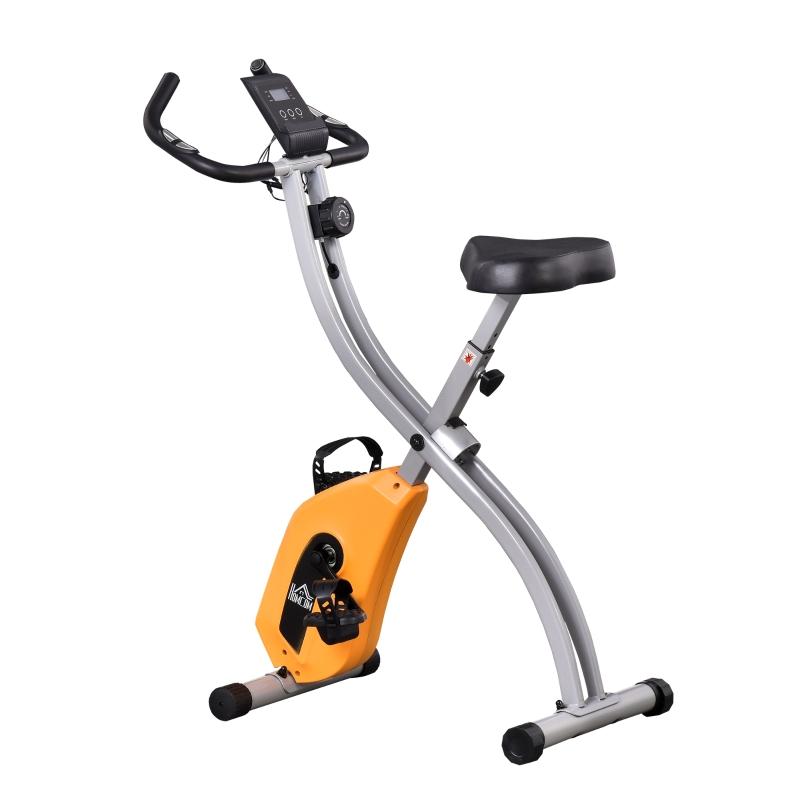 HOMCOM Bicicleta Estática Plegable con Resistencia Ajustable y Volante de 1,5kg Naranja
