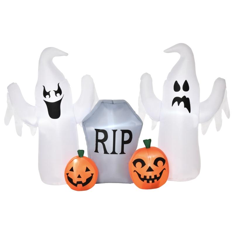 HOMCOM Fantasmas Inflables de Halloween con Luces LED Decoración Hinchable 182x57x122cm