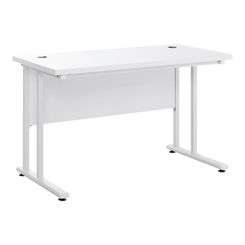 HOMCOM Escritorio Mesa Ordenador con 2 Pasacables para Oficina Hogar 120x60x75cm Blanco