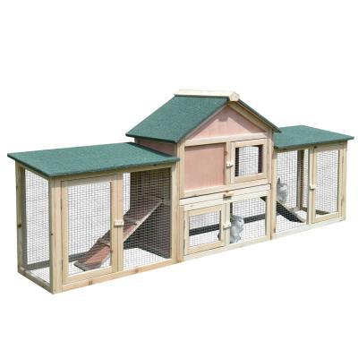 PawHut Conejera de Exterior Jaula para Conejos Gran Espacio de Actividades con Bandeja Extraíble Incorporada Buena Ventilación del Aire Duradero Madera 210x45.5x84.5 cm Verde