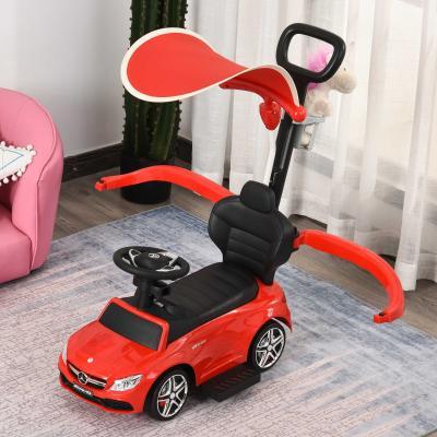HOMCOM Carrito para Niños Mayores de 1 Año Cochecito Automóvil Diseño 3 en 1 Empujador Andador Función de Bocina 84x40x83 cm Rojo