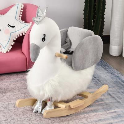 HOMCOM Caballito Balancín para Bebé de +18 Meses Suave con Forma de Cisne Sonidos Reposapiés y Cinturón 60x33x59 cm Blanco y Gris