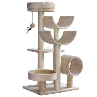 PawHut Rascador para Gatos Árbol Rascador Grande Centro de Actividad Plataformas Tubo de Juego  Bola de Juego 50x40x105cm Sisal Natural