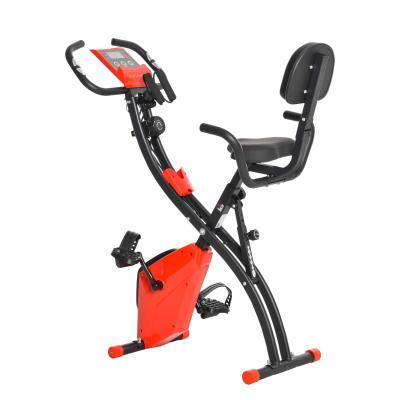 HOMCOM Bicicleta Estática Plegable con Altura y Resistencia Magnética Ajustables con Pantalla LCD y Asiento con Respaldo 52x107x110 cm Rojo