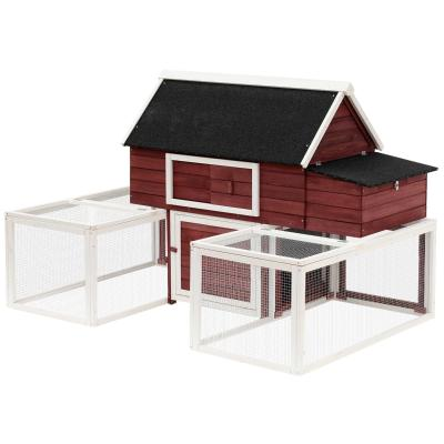 PawHut Gallinero Exterior de Madera con 2 Recintos para Correr Personalizables y Caja Nido Rampa Techo de Asfalto 290x71x119 cm Rojo