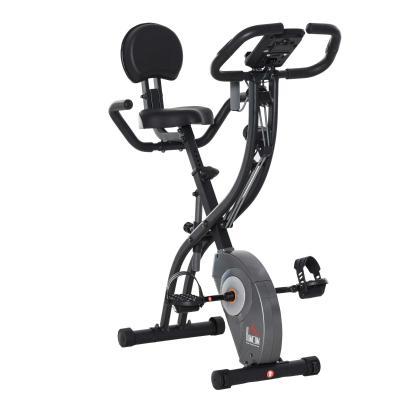 HOMCOM Bicicleta Estática Plegable con Sensor de Pulso Pantalla LCD Resistencia Ajustable de 8 Niveles Sillín Regulable y Respaldo para Entrenamiento en Casa 107x53x107 cm Negro