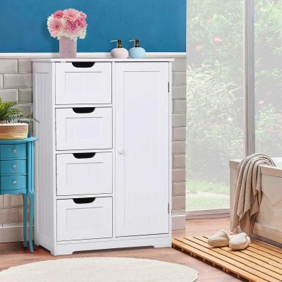 kleankin armarios de madera para Baño o Entrada Mueble Organizador Armario Moderno de Madera 1 Puertas y 4 Cajones Color Blanco 56x30x83cm
