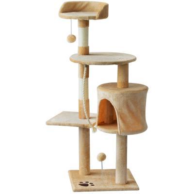 PawHut Árbol para gatos Rascador Grande con Plataformas Casetas Bolas de Juego 114cm Cubierto de Felpa Beige