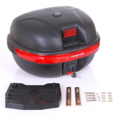 Homcom Baul Moto Universal 35L con LLaves y Soporte Caja de Moto negro - 44.5x37.5x27cm