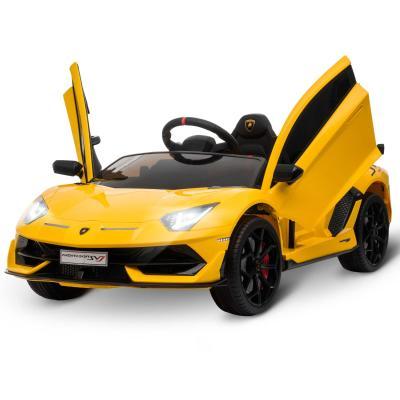 HOMCOM Coche Eléctrico para Niños de +3 Años Lamborghini SVJ Batería 12V con Mando a Distancia Velocidad de 3-5 km/h Música y Faros Carga 25 kg 123x66,5x45,5 cm Amarillo
