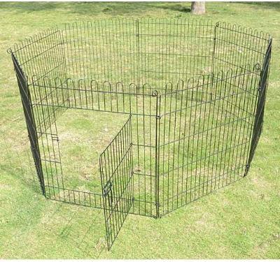PawHut Parque para Perros Negro Acero ø158x76cm