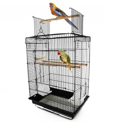 PawHut Jaula para Pájaro Espaciosa Jaula de Aves con Techo Abierto con 4 Soportes 2 Comederos para Interior o Exterior 41.5x29.5x56.5cm