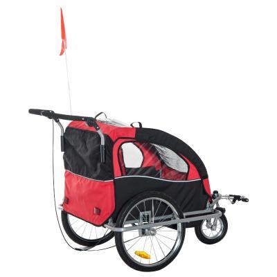 Remolque Infantil Bicicleta 2 PLAZAS Kit Footing Rueda 360º Amortiguadores y Barra Rojo y Azul
