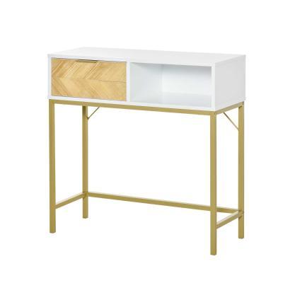 HOMCOM Mesa Consola con Cajón y Estante Abierto Estilo Moderno Mueble Recibidor para Pasillo Entrada Sala de Estar 80x30x80,5 cm Blanco Dorado
