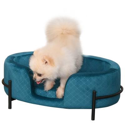 PawHut Sofá Cama para Mascotas Perros Pequeños Gatos con Cojín Acolchado Desmontable Base de Metal Bordes Elevados 64x40x24 cm Turquesa