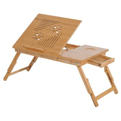 HomCom® Mesa de Ordenador Portátil Bambú Plegable Altura Ajustable 55x35x22-30cm (LxANxAL)