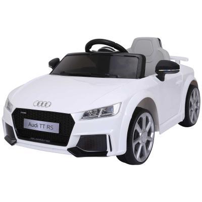 HOMCOM Audi TT Eléctrico Infantil Coche Juguete Niño 3 Años+ con Mando a Distancia con Música y Luces Batería 6V Doble Puerta Carga 30kg Color Blanco