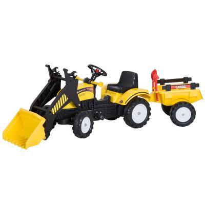 HOMCOM Tractor Pedales Excavadora Infantil Juguete de Montar con Cargador Frontal con Tráiler para Niños 3 Años Carga 35 kg 167×41×52cm
