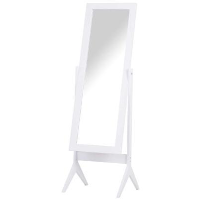 HOMCOM Espejo de Maquillaje de Pie Reclinable Nórdico para Dormitorio Salón Blanco de Madera 47x46x148cm