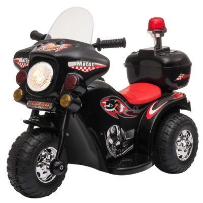 HOMCOM Triciclo Eléctrico para Niños de +18 Meses Diseño Moto Eléctrica Infantil con 3 Ruedas y Batería 6V Funciones de Música 80x35x52 cm Negro