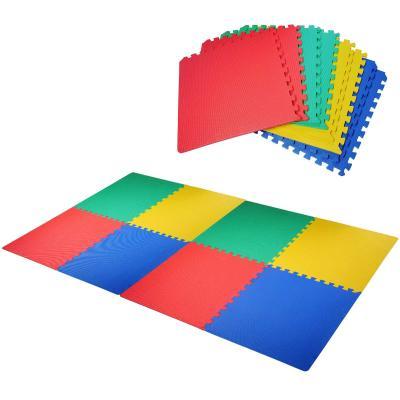 HOMCOM Alfombra Puzzle para Niños 8 Piezas Alfombrillas de Juego Espuma EVA con Área de Cobertura 2,88metros cuadrados No Tóxica 60x60x1,2 cm