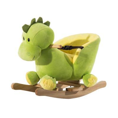 HOMCOM Caballito Balancín Forma de Dinosaurio para Bebé +18 Meses Caballo Balancín de Felpa Suave con Sonido 60x33x45 cm Verde