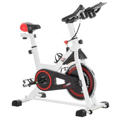 HOMCOM Bicicleta Estática Bicicleta de Fitness Pantalla LCD Asiento Manillar Ajustable Volante de Inercia 8kg Resistencia Regulable 103x53x110-114 cm Acero Blanco