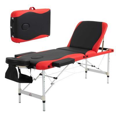 HOMCOM Camilla de Masaje Plegable y Portátil 215x60x61-84cm Mesa Ajustable en Altura con Reposacabezas y Apoyabrazos para Tatuaje Fisioterapia Negro y Rojo