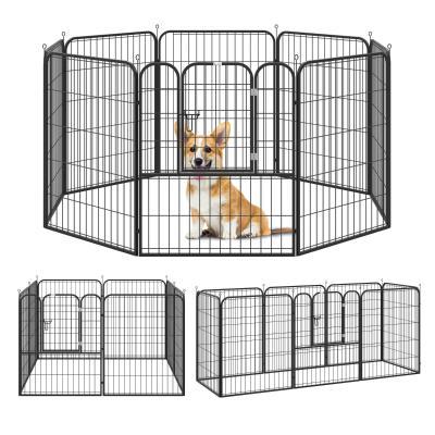 PawHut Parque para Mascotas Perros 8 Vallas 79x100 cm Corral Plegable con Puerta y Doble Pestillo Paneles Metálicos Cerca de Entrenamiento Negro