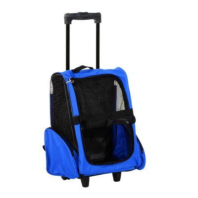 PawHut Transportín 2 en 1 Carrito y Mochila de Malla Transpirable para Mascotas Perros Gatos 42x25x55 cm Azul