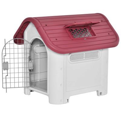 PawHut Caseta para Perro con Puerta Extraíble Base Elevada 3 Respiraderos y Ventana Abrible Caseta de Perros para Interior y Exterior 59x75x66 cm Gris Rojo