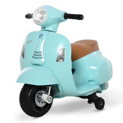 HOMCOM Moto Eléctrica Vespa para Niños +18 Meses con Faro Bocina y 4 Ruedas Motocicleta Infantil con Licencia 66,5x38x52 cm Verde
