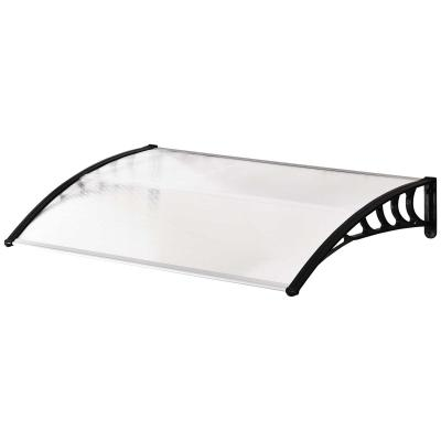 Outsunny Tejadillo de Protección 150x90x25 cm para Puertas Ventanas contra Sol y Lluvia Marquesina de Techo Aleación de Aluminio Duradero y Policarbonato Transparente