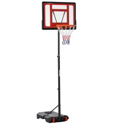 HOMCOM Canasta de Baloncesto Ajustable de 205-261 cm Aro de Baloncesto con Soporte de Acero Base Rellenable y 2 Ruedas de Transporte para Niños y Adultos Rojo Negro