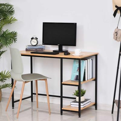 HOMCOM Mesa de Ordenador Escritorio para Oficina Estudio con Estantes de 2 Niveles Gran Superficie Patas 106x50x76cm